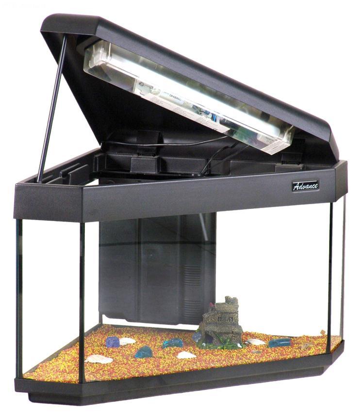 aquarium advance 55 angolare 55x55 aquarium en verre muni d 39 un couvercle plastique d un. Black Bedroom Furniture Sets. Home Design Ideas